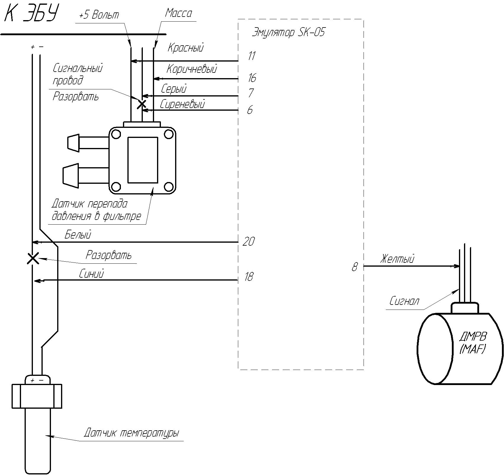 Подключение эмулятора сажи с одним д. температуры